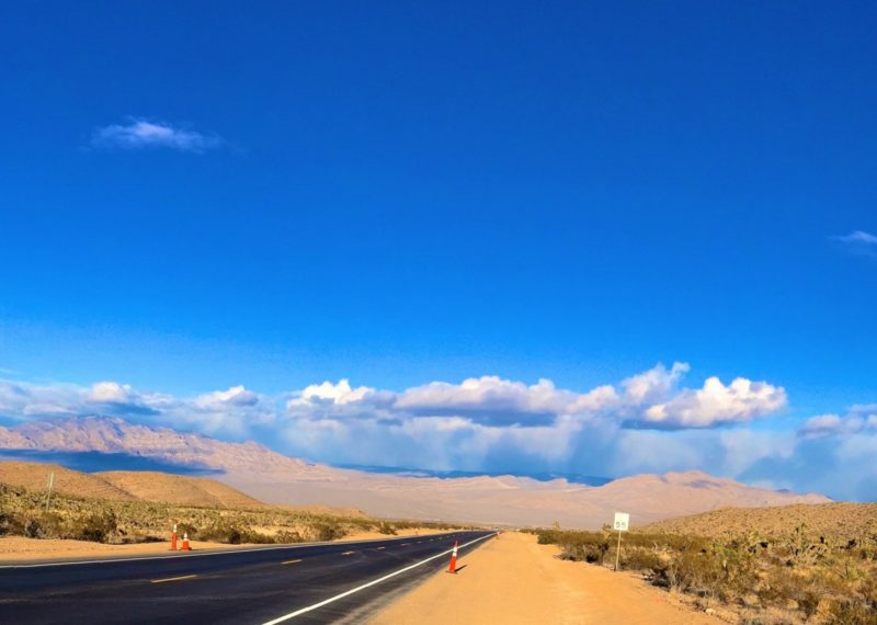 desert route with blue sky