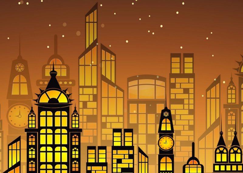 draw of buildings in orange