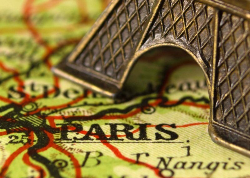 Paris in the map with Eiffel Towel
