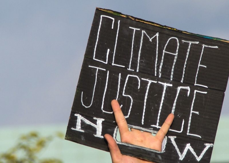 Climate Justice Now sign