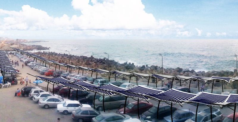 The Solar Fabric Carport in the shore