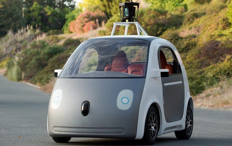 a gray google self-driving car