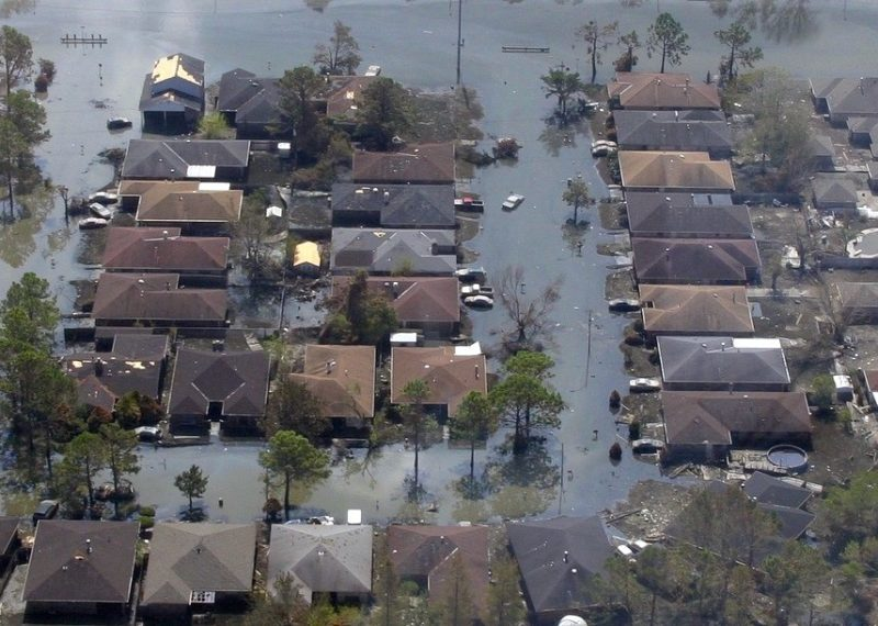 ariel view of flooded homes