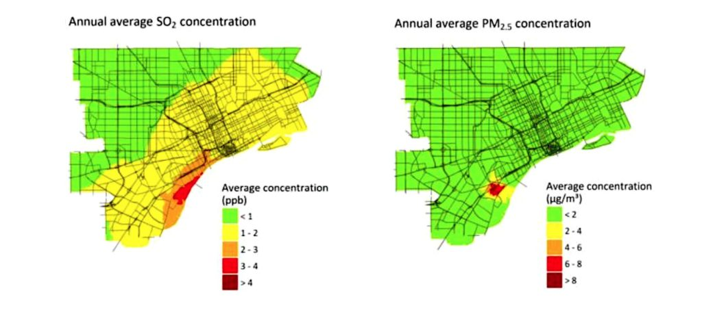 map showing concentrations of SO2 and PM 2.5