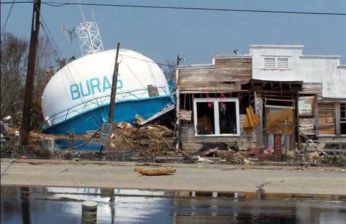 Fallen water tower in Buras, Louisiana, where Hurricane Katrina made landfall