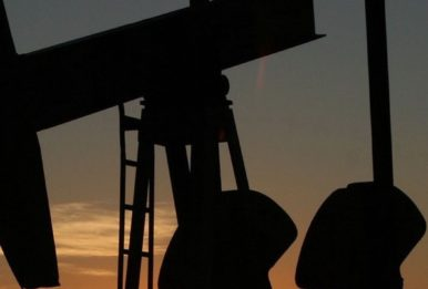 An oil rig at dusk