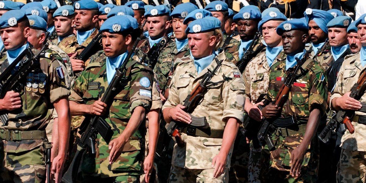 UN Peacekeeping troop in formation