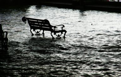 banking in the flood, black and white