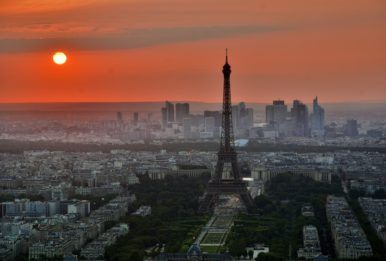 Eiffel Tower at the sunset