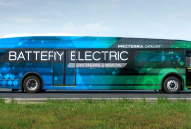 Battery Electic bus advertising. electric vehicle
