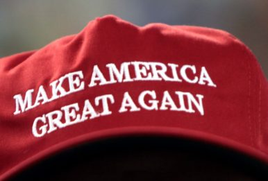 red cap with make america grea again
