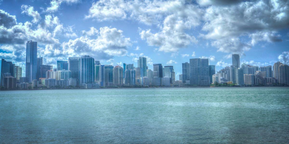 Miami buildings in picture in ocean