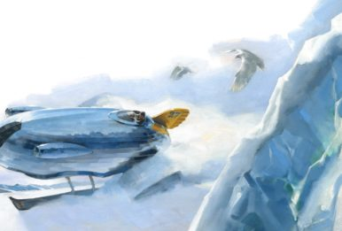 ilustration Singleton's 4640 D-Class Snow Tracker traverses the ice.