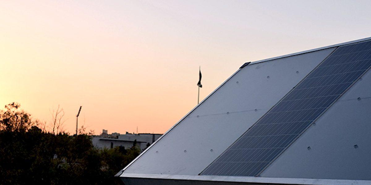 solar panel at sunset