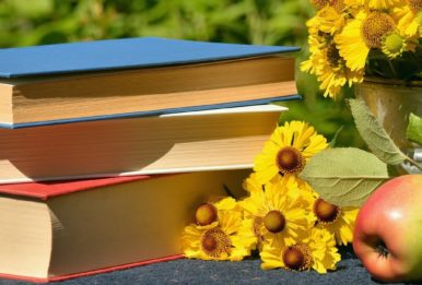 Books, apple and flowers on a jarden table