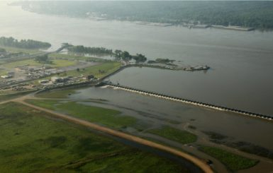 The Bonnet Carré Spillway in St. Charles Parish, Louisiana. When the Mississippi River begins to flood, engineers open the gate shown above, allowing water to flow to nearby Lake Pontchartrain. Source: U.S. Army Corps of Engineers