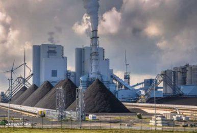 Coal-piles smoke wind turbine