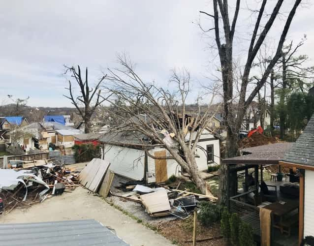 tree fell over a house