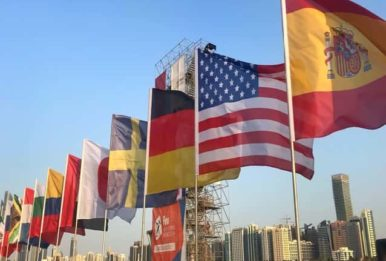 International flags displayed outdoors with city skyline in the background