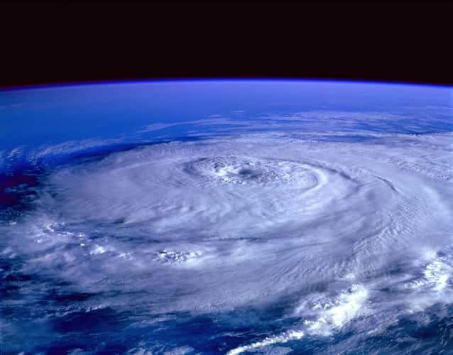 hurricane over sea view from space
