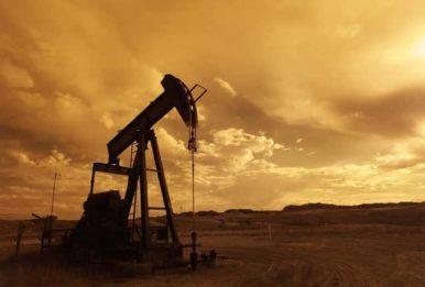 oil derrick pump in sepia