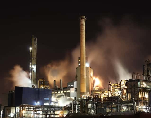 refinery pollution at night
