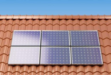 solar panels over a tile roof