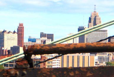 The view from the Ambassador Bridge in Detroit, Michigan. Source: KenLund