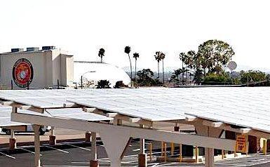 A solar installation at Marine Corps Air Station Miramar in San Diego, California. Source:NREL