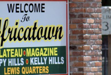 A sign welcoming visitors to Africatown. Source: AmyWalker