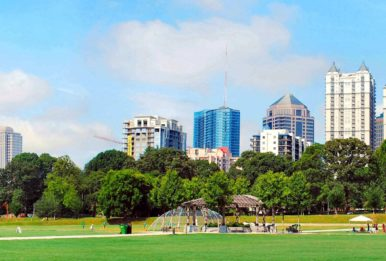 The Atlanta skyline as viewed from Piedmont Park. Source: David Cole