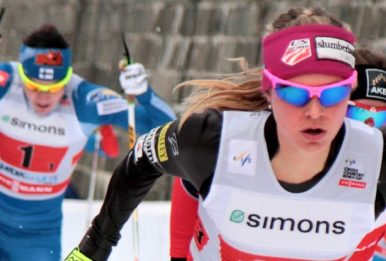 Cross-country skier Jessica Diggins (front) testified before Congress on the threat climate change poses to winter sports. Source: Cephas