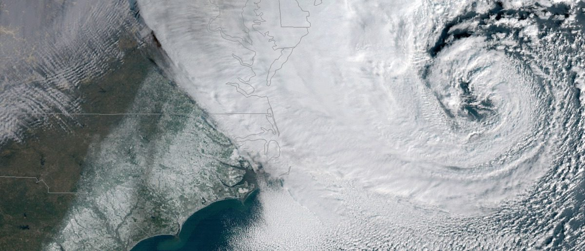 "The ""bomb cyclone"" that hit the Northeast this week. Source: NOAA"