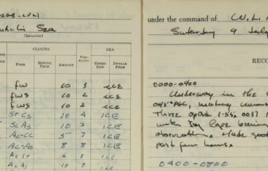 An excerpt from the 1955 logbook of the cutter Northwind. Source: National Archives