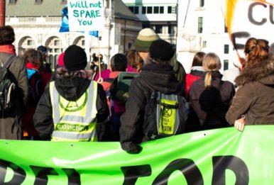 An Extinction Rebellion protest on Blackfriars Bridge in London, November 17, 2018. Source: JuliaHawkins