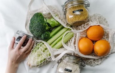 Green products for grocery shopping.