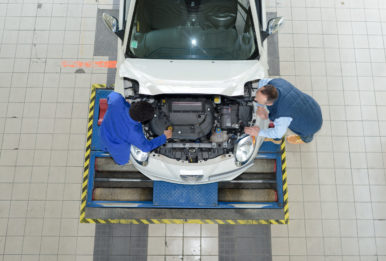 Overhead view of car assembly line