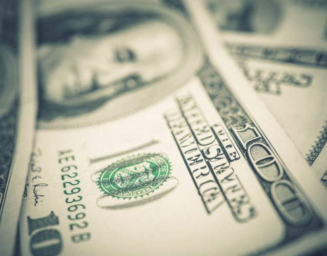 US Dollars Banknotes Closeup. American Economy Concept Photo.