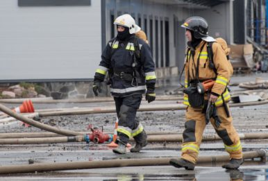 firefighters at the scene of a disaster
