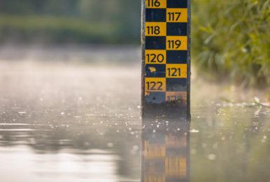 water level depth meter in river