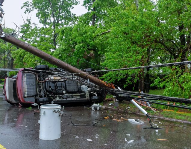 Electricity poles downed by powerful storm