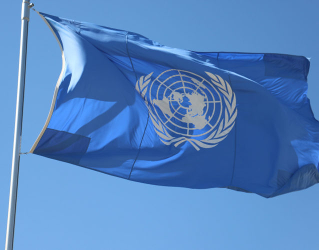 UN Flag flying in the wind